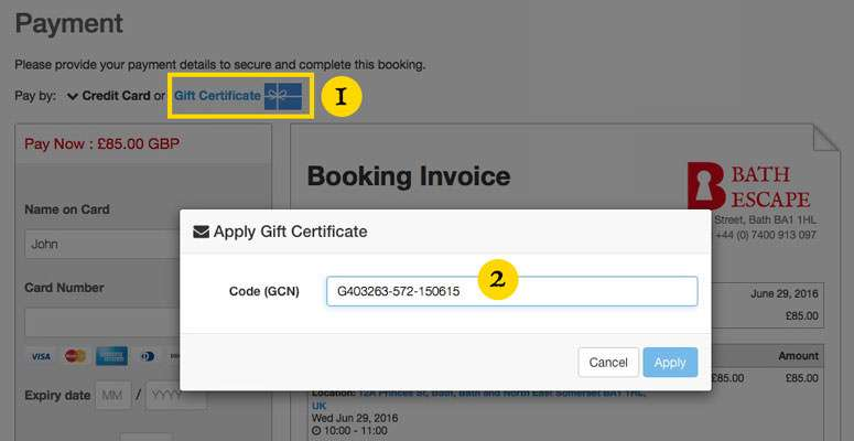 gifterctificate booking